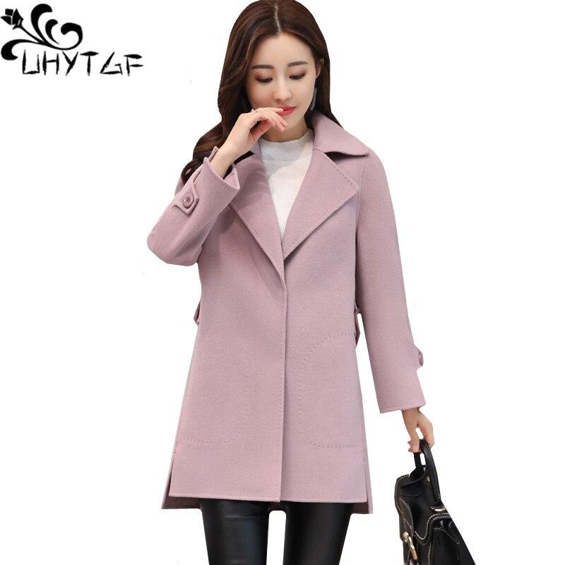 Kadın Giyim'ten Yün ve Karışımları'de UHYTGF 2019 Sonbahar kış ceket kadın Moda Kısa Yün ceket Düz renk lapels ince zarif Kadın artı boyutu Giyim 1173'da  Grup 1