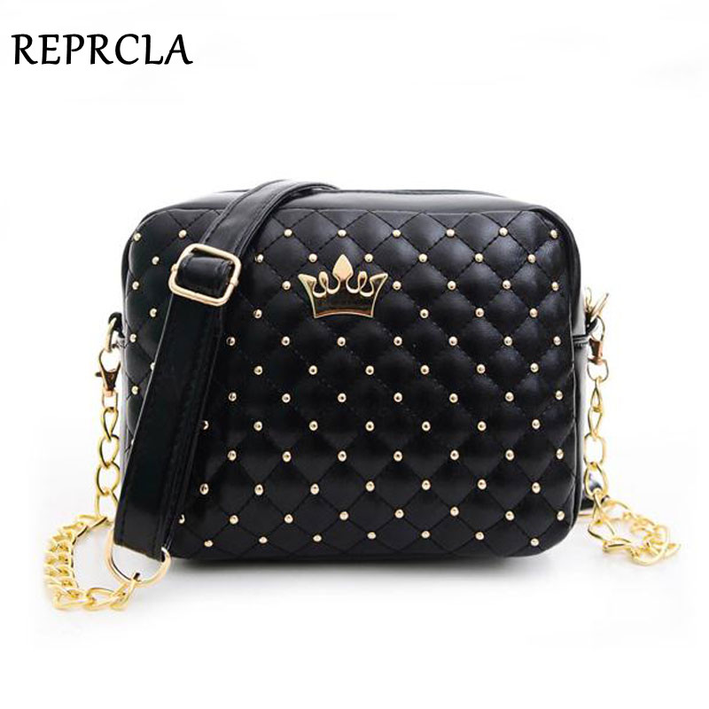 2018 Women Bag Fashion Women Messenger Bags Rivet Chain Shoulder Bag High Quality PU Leather Crossbody N0310