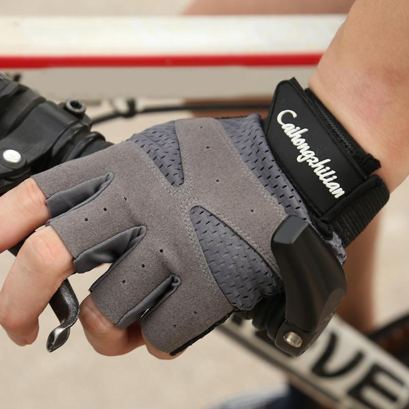Sports font b Fitness b font Anti sweat Anti slip Outdoor Cycling Breathable Half Finger Gloves