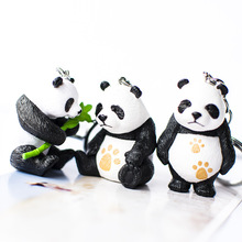 Cute cartoon black white panda key chain animation creative small gift ring pendant spot wholesale boyfriend keychains