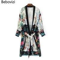 Bebovizi New Brand Fashion 2017 Blusas Coat Long Hit Color Lace Kimono Thin Tops Coat Open