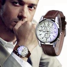 Новые роскошные модные часы с искусственным кожаным ремешком, Мужские кварцевые аналоговые часы с синим лучем из стекла, наручные часы Relogio Masculino