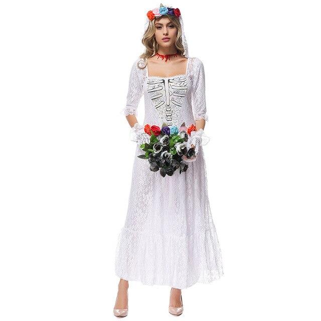 c4eb95f73dcd 2016 Del Merletto della Donna White Sposa Cadavere Vestito Da Vampiro  Costumi Per Halloween Party di