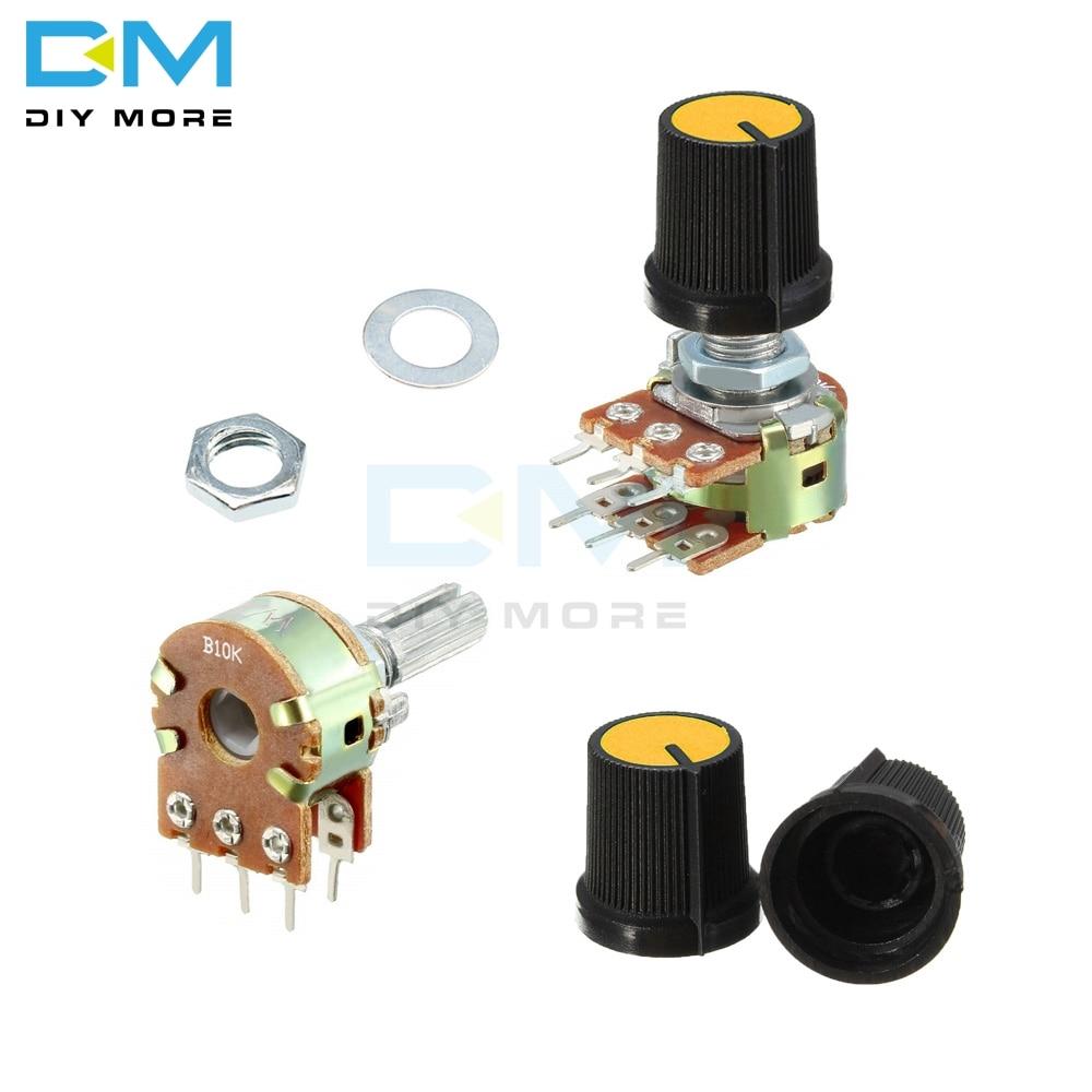 5 шт. потенциометр B1K B2K B5K B10K B20K B50K B100K B250K B500K B1M, резистор, линейный конический вращающийся колпачок, ручка Ом, электронная