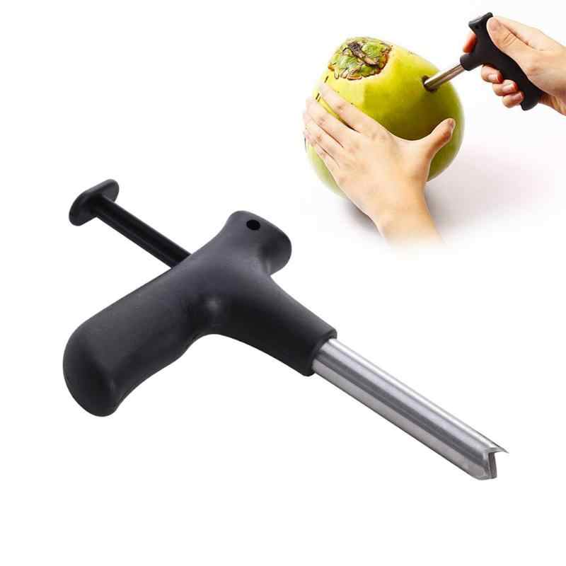 1Pcs Useful  Black Coconut Opener Tool Coco Water Punch Tap Drill Straw Open Stainless Steel  Hole Cut Gift Fruit Openers Tools