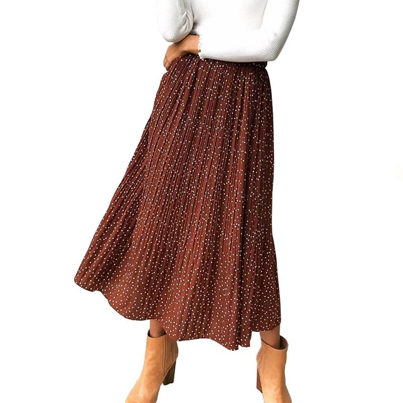 Elegant White Red Dots Floral Print Pleated Midi Skirt Women Elastic High Waist Pockets Skirts Summer Female Bottom 2019 in Skirts from Women 39 s Clothing