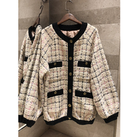 2019 early spring Contrast plaid tweed tiger head button casual loose coat cardigan Leisure Women's Bomber jacket