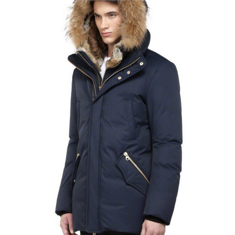 eb8a314da2 Real fur hood White duck down Winter jacket men Navy blue Parka men North  Pole warm clothes Long sleeves Zippered front Coat on Aliexpress.com |  Alibaba ...