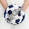 Top Quality Ivory Cream Brooch Bouquet Wedding Bouquet de mariage Polyester Wedding Bouquets Pearl Flowers buque de noiva A0007