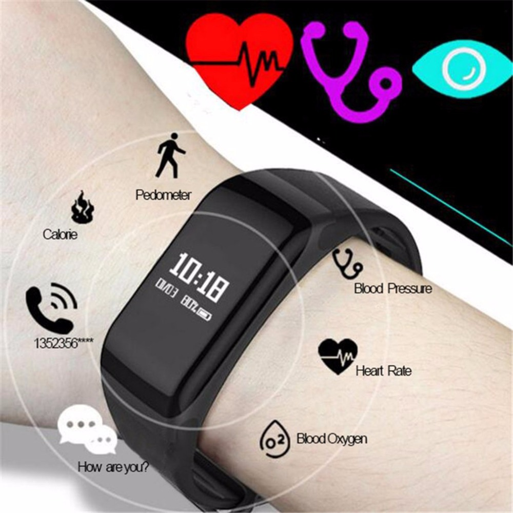 Fitness Tracker Heart-Rate-Monitor Pedometer Smartband Bluetooth Waterproof F1 with Blood-Pressure