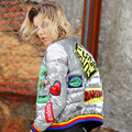 2016 short bright personality stamp down jacket female baseball uniform slim tide dow jackets