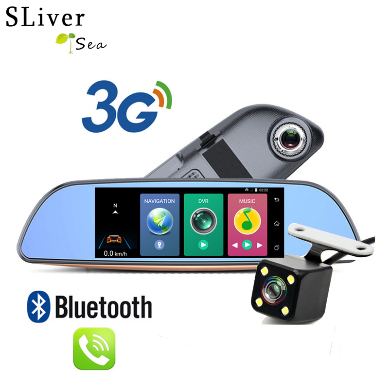 SLIVERYSEA 3G Android GPS Dual Lens Car DVR Rearview mirror with Rear Camera FHD 1080P Dash