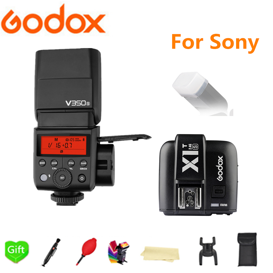 Godox V350S Speedlite Flash GN36 2.4G Wireless X-System TTL HSS Li- battery Camera Flash + X1T-S Trigger for Sony DSLR Cameras godox v860iis flash speedlite 2 v860ii s ttl hss 2 4g li ion battery x1t s trigger for sony dslr cameras supon free gift kit