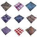 Hombres Pañuelos de Seda Tejida Patrón Floral A Cuadros Pañuelo hombres de Negocios Casual Bolsillos Cuadrados Pañuelos Pañuelo de Boda