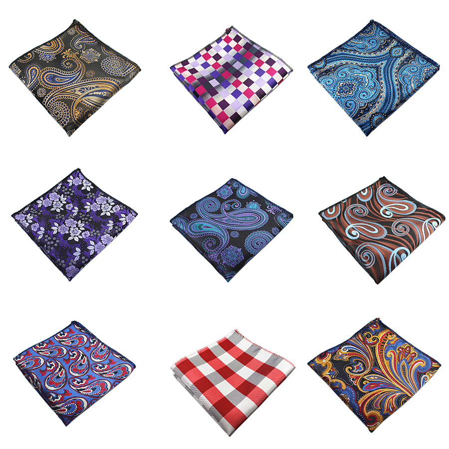Ricnais Men Handkerchief Silk Woven Plaid Floral Pattern Hanky Men's Business Casual Square Pocket Handkerchief Wedding Hankies