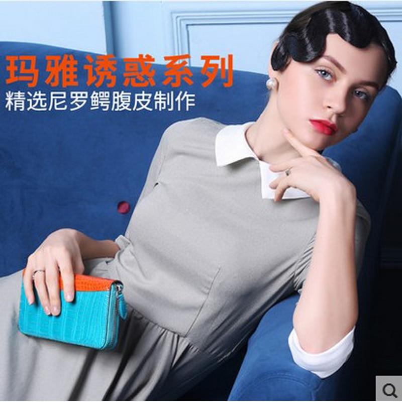 2018 jialante Crocodile belly handbag lady real leather American and European cross - hand grab bag long zipper purse