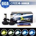 OGA 2 PCS 30 W 3000LM CREE chips de LED H4 HB2 9003 H7 H8 H9 H11 9005 9006 HB3 HB4 Auto Farol Nevoeiro Lâmpada Com 5 Cores