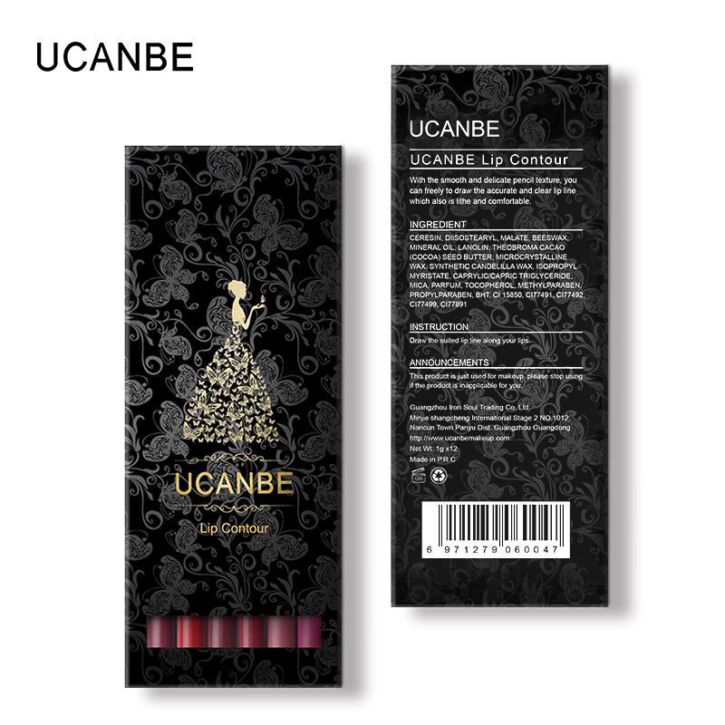 UCANBE 12pcs/Set Multi-Color Ultra Matte Lip Liner Pencil Rouge Waterproof Wooden Lip Pen Makeup Lasting Velvet Shape Lips Liner 16