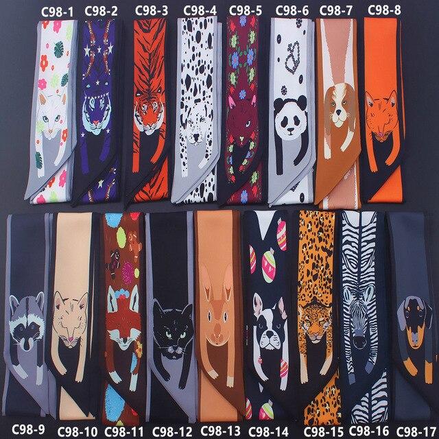 Мультфильм панда кошка принт твил шелк Малый Для женщин шарф волос сумки ручка украшения галстук многофункциональный ручной тесемка, шарф