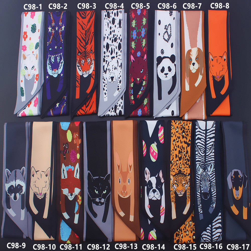 Fine Cartoon Panda Cat Print Twill Silk Small Women Fashion Scarf Hair Bags Handle Decoration Tie Multifunction Hand Ribbon Scarf Cleaning The Oral Cavity.