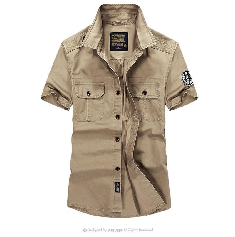 High-Grade Men Brand Clothing 2016 Hot Summer Dress Short Sleeve Shirts Straight Casual Fashion Shirts M~4XL AFS JEEP Pockets (11)