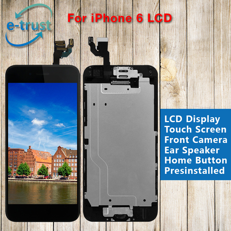 20PCS Lcd display screen+touch glass panel digitizer+Home button+Front camera flex cable assembly  white/black color for iPhone6 1 pcs for iphone 4s lcd display touch screen digitizer glass frame white black color free shipping free tools