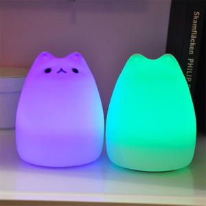 Image 3 - Цветной СВЕТОДИОДНЫЙ ночник, животное, кошка, стиль, силиконовый мягкий дышащий мультяшный Детский Светильник для детской комнаты, подарок для детей