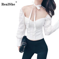 RealShe Women Vintage Elegant Blouses Plain White Halter Bow Tie Backless Sexy Shirts Women Slim Zipper