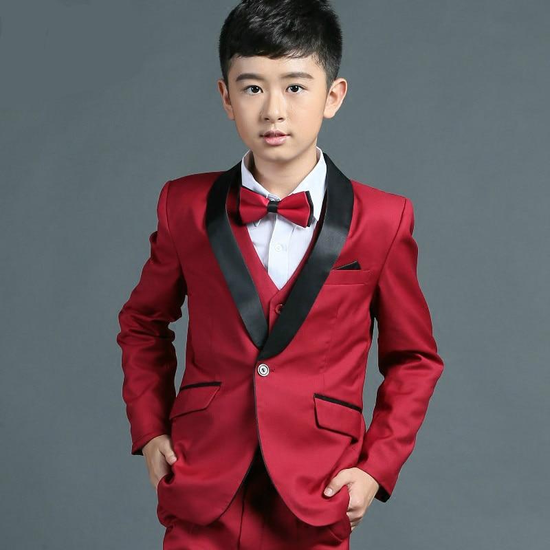 ФОТО Elegant Kid Boy Wedding red Suit/Boys' Tuxedo/Gentlemen Boys Suits For Weddings (Jacket+Pants+Tie+Vest+Shirt)3-12T