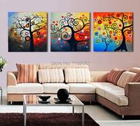 abstract painting scenery canvas prints colorful circles lucky tree 3 panels modern home decoration home art prints