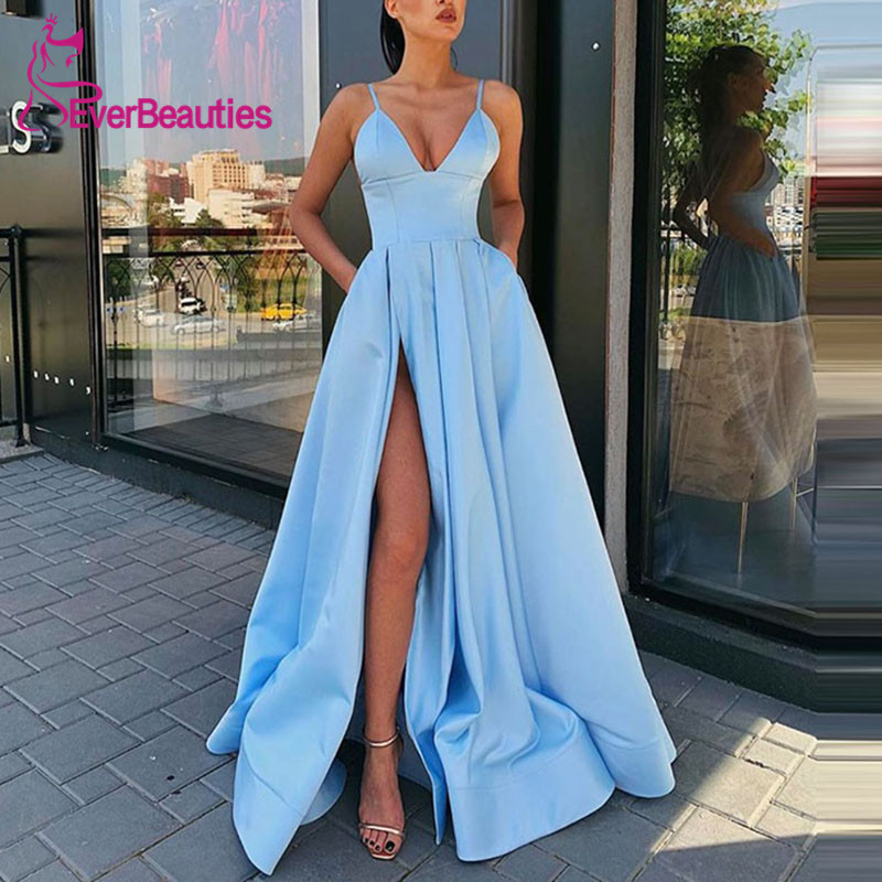 Abiye Gece Elbisesi Spaghetti Straps Evening Dress Long 2019 Satin Side Slit Formal Party Gowns Sleeveless Robe De Soiree