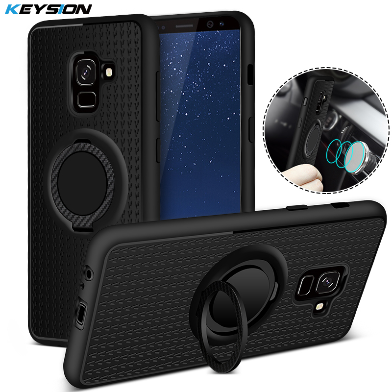 KEYSION Case for <font><b>Samsung</b></font> Galaxy A8(2018) Car Magnetic Suction Bracket Case Finger Ring Soft TPU Back <font><b>Cover</b></font> for A8 2018 <font><b>A530F</b></font> image