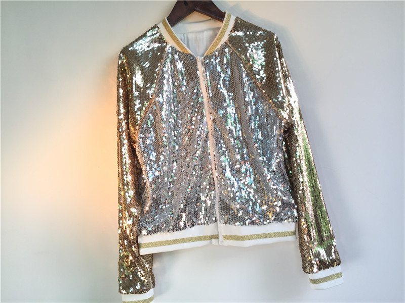 Silver Chiusura Primavera Oro Femminile Gold Streetwear Autunno Giubbotti Baseball Cappotto Moda Bling Outwear Paillettes Lady Casual Sciolto Lampo Di Argento qHHwIr