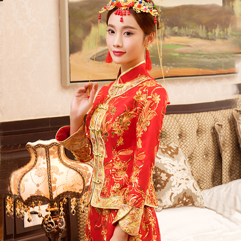New Red traditional chinese wedding dress Qipao National Costume Womens Overseas Chinese Style Bride Embroidery Cheongsam S-XXL 5