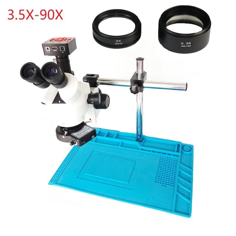 Strumento di telefono Simul focale 3.5X 7X 45X 90X Trinoculare Stereo Microscopio + 21MP Industriale della Macchina Fotografica HDMI USB di Uscita + Calore pad in silicone