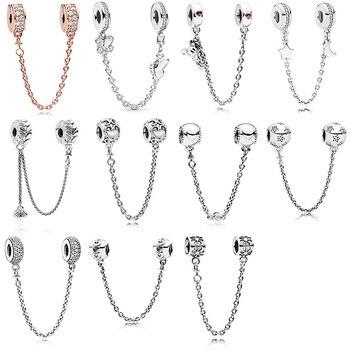 Perles en argent charme amour fleur étoile cristal bouchon de sécurité chaîne perle pour 925 Original Pandora bracelets porte-bonheur et bracelets bijoux