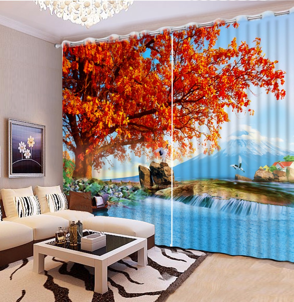 3d الستار تخصيص حجم النفط اللوحة الصورة القيقب هيل السرير مكتب فندق غرفة المعيشة غرفة cortinas ستارة الديكور