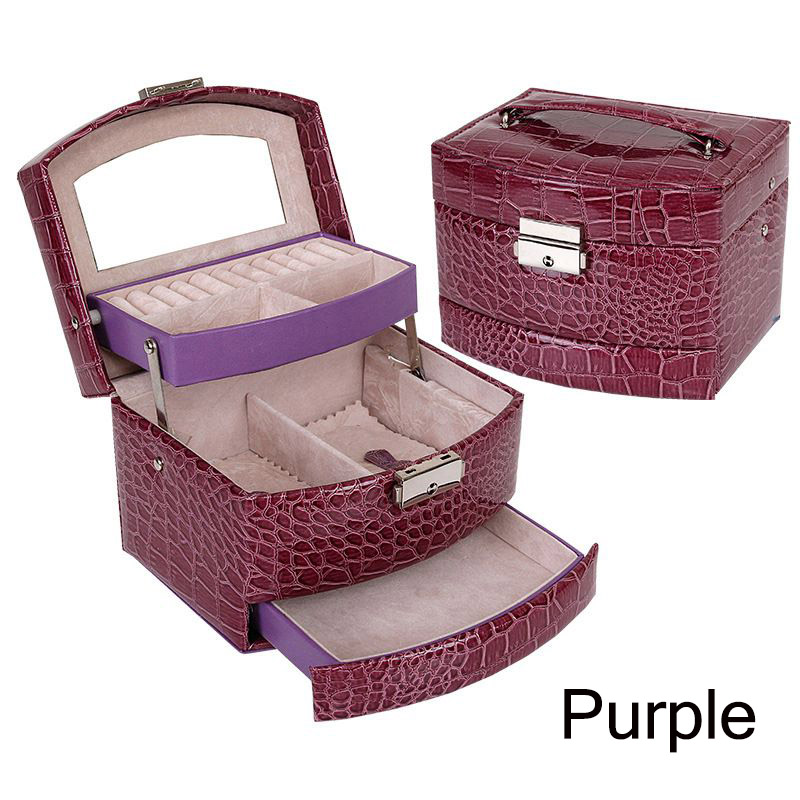 Aodmuki Pink Crocodile Pattern Automatic Jewelry Box Leather Exquisite Three-layer Storage Box For Girls Women