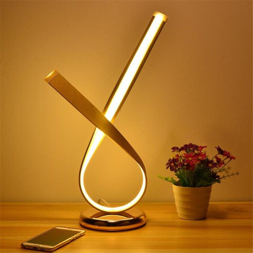 Modern Table Lamp Led Aluminum Desk Lamp Fixtures Flexible Lamps Luminaria Led Eey Protect Room Decor Lighting EU US Plug Gold
