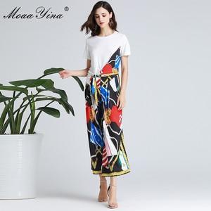 Image 2 - MoaaYina Fashion Designer Set Spring Summer Women Short sleeve Ribbon T shirt+Stripe Print Wide leg bell bottoms Two piece suit