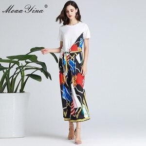 Image 2 - MoaaYina ensemble de créateurs de mode printemps été femmes à manches courtes ruban T shirt + rayure imprimé large jambe cloche bas costume deux pièces