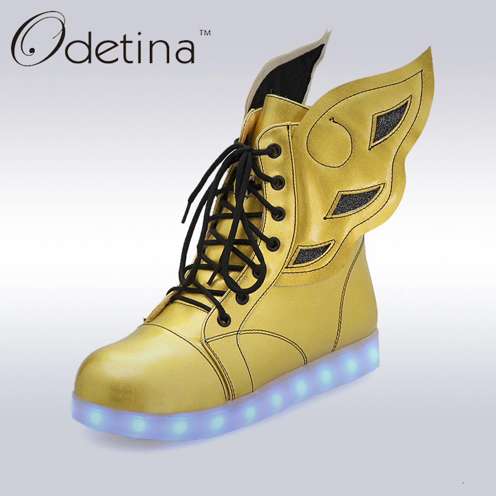 Odetina 2017 Led Light Shoes Wings For Adults Women High Top Colorful Glowing Shoes Lace Up Flat Led Ankle Boots Usb Charging glowing sneakers usb charging shoes lights up colorful led kids luminous sneakers glowing sneakers black led shoes for boys