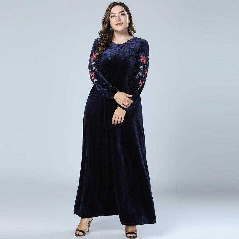 Autumn Winter Women Velvet Abaya Muslim Maxi Dress Dubai Abayas Long Sleeve Kaftan Islamic Dresses Navy Blue Vestido Big Size