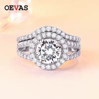 Solid 925 Sterling Silver Wedding rings set 64 pieces AAA CZ Shiny Engagement ring size 6 7 8 9 S925 Silver Jewelry Dropshipping