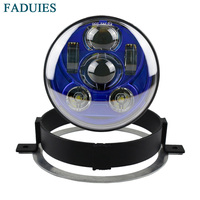 FADUIES For Honda Motorcycle VTX 1800, VTX 1300 5 3/4 LED Blue Headlight Kit with Bracket and Hardware Plug and Play