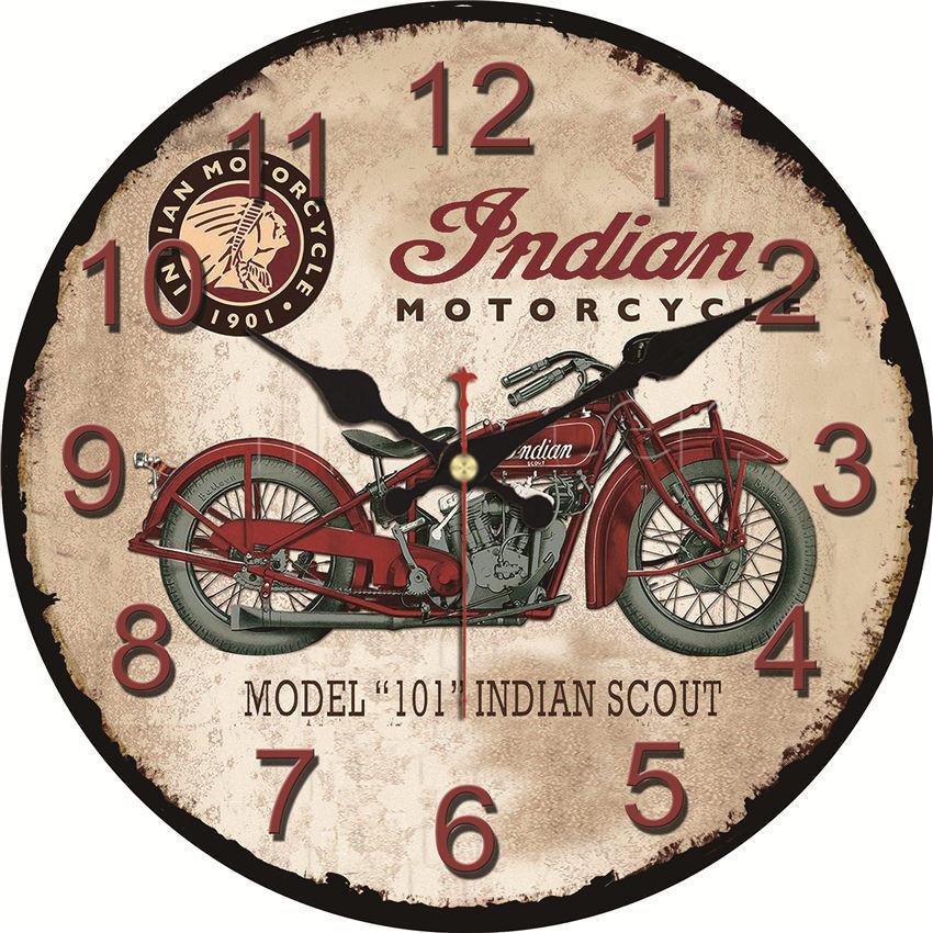 Shabby Chic,Indian Motorcycle Wall Clocks,Vintage Wall Clock,Wall Watches Home Decor,Round Wall Clock