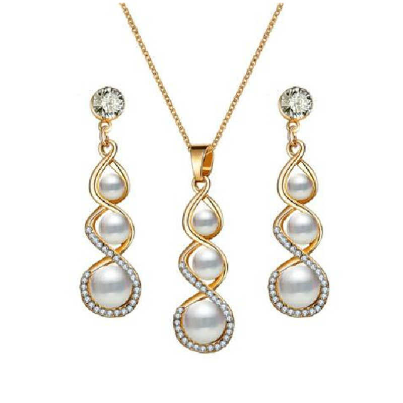 Fashion White Crystal Simulated-pearl Inlay 8 Word Gourd Shape Metal Pendant Gold Necklace Earrings for Women Jewelry Set Brinco