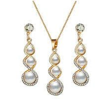 Fashion White Crystal Simulated-pearl Inlay 8 Word Gourd Shape Metal Pendant Gold Necklace Earrings for Women Jewelry Set Brinco(China)