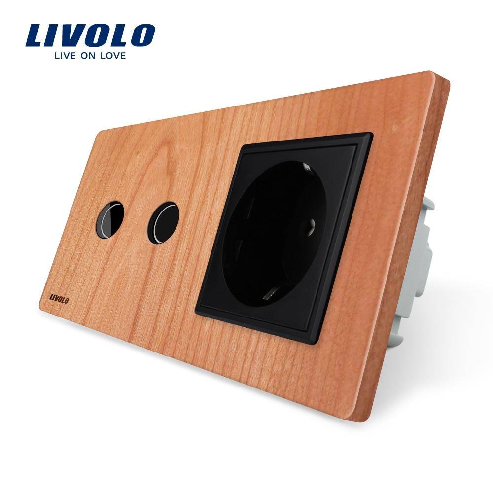Prise de courant murale standard Livolo EU, panneau en bois de cerisier, interrupteur tactile avec prise murale, 16A, VL-C702-21/VL-C7C1EU-21
