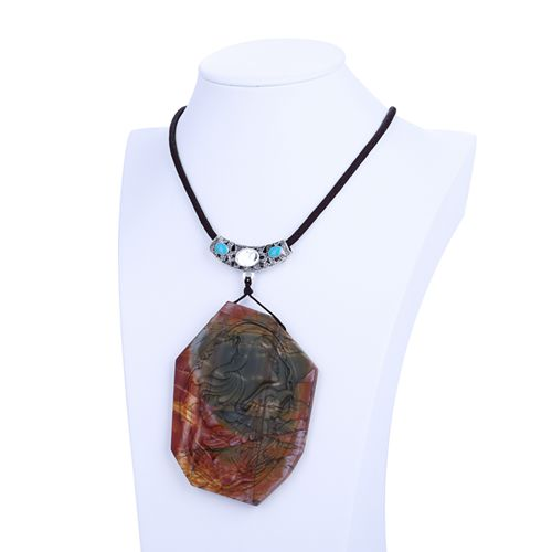 Carving Goddess Angel Multi-Color Picasso Jasper Gemstone Pendant Beads 90x64x9mm Cord length 50cm 83.9gCarving Goddess Angel Multi-Color Picasso Jasper Gemstone Pendant Beads 90x64x9mm Cord length 50cm 83.9g